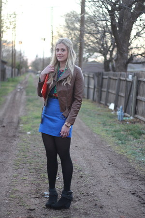 carrot orange asos bag - blue H&M skirt