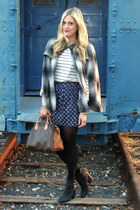 charcoal gray Forever 21 cape - dark brown Louis Vuitton bag - navy Gap skirt