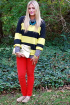 chartreuse Gap sweater - gold asos bag - navy J Crew blouse - red Gap pants
