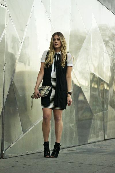 white asos blouse - black madewell skirt