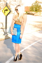 blue vintage skirt - nude C Luce jacket