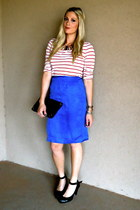 blue vintage skirt - black tory burch bag - red Loft t-shirt