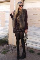 dark brown Via Spiga vest - crimson Gap blazer - gray Rebecca Minkoff bag