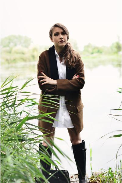 coat - boots - shirt - bag - H&M necklace