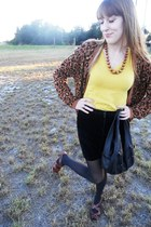 black thrifted purse - mustard Gap shirt - black thrifted vintage skirt
