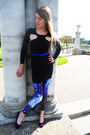 Black-nasty-gal-dress-blue-galaxy-unknown-tights-purple-target-flats