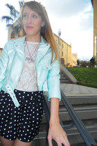 white lace thrifted top - aquamarine motorcycle Nasty Gal jacket