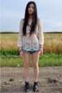 Anna-xi-boots-vintage-bag-celine-bag-denim-one-teaspoon-shorts-top-top