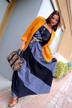 blue chambray maxi eShakti dress - mustard vintage blazer blazer