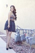 blue corset vintage shirt - navy polka dot Forever 21 skirt