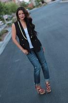 gold trim thrifted vintage vest - boyfriend jeans gap thrifted jeans