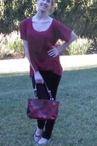 black True Religion jeans - maroon StyleMint shirt - coach bag - JewelMint ring