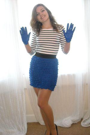 blue Primark skirt - white H&M top - black Peacocks shoes - blue Primark gloves