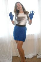blue Primark skirt - white H&M top - black Peacocks shoes - blue Primark gloves