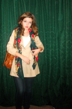 beige Primark jacket - green thrifted scarf - brown Topshop purse