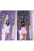 white H&M jumper - black H&M - cream Topshop dress - black asos hat