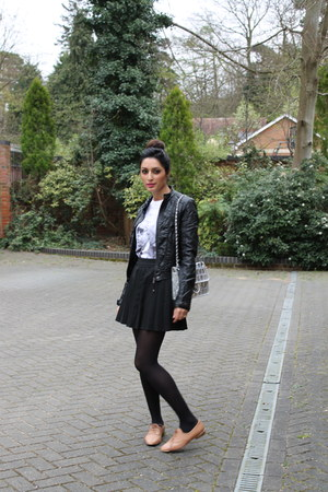 leather jacket Zara jacket - Zara shoes - black tights Wolford tights