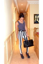 Motel Rocks pants - Chanel bag - heather gray H&M top