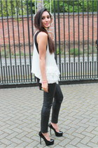 black TopShop Unique pants - black YSL heels - black versus top - white vest