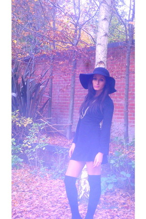 black Topshop dress - Wolford socks - black vintage hat - white Accessorize acce