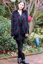 black moto boots boots - black dress - black tights - black mongol fur vest vest