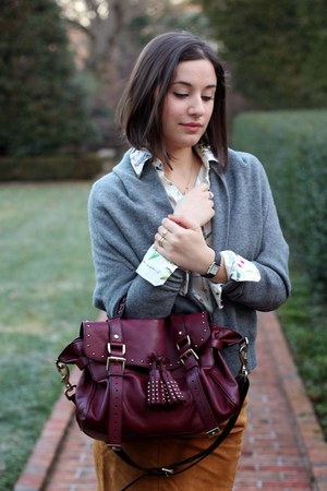 bronze LK Bennet skirt - maroon Mulberry bag