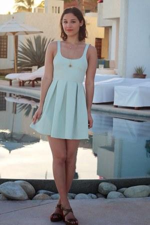 light blue Zara dress - bronze wedges