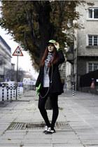 black cap hat - white oxfords shoes - black classic blazer - green clutch bag