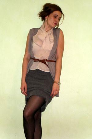 united colors of benetton shirt - vintage skirt - united colors of benetton vest