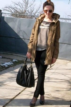 brown pull&bear jacket - black noname bag - tan pull&bear blouse
