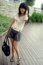 black Prada accessories - brown Mitju shoes - beige unbranded top