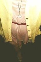 peach next dress - silk random tights - light yellow wool first avenue cardigan