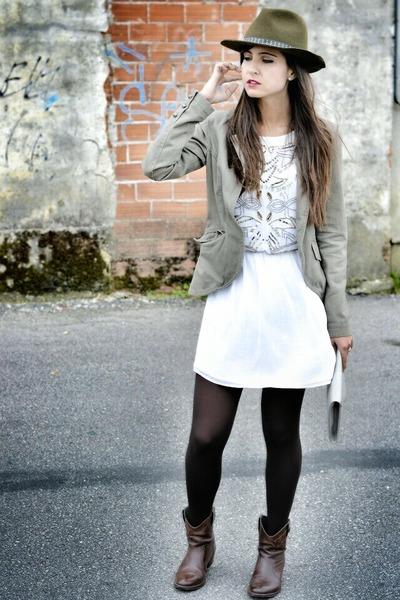 Zara hat - Mustang boots - Zara dress - Bershka blazer - Primark bag