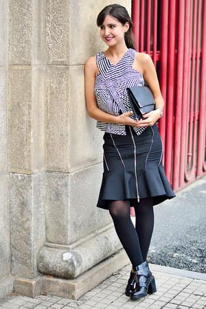 Zara skirt - asos boots - River Island blouse