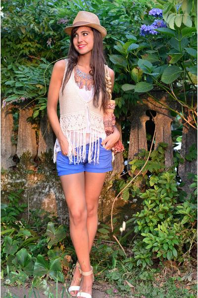 Bershka necklace - Easy Wear shorts - Bershka vest - Zara heels