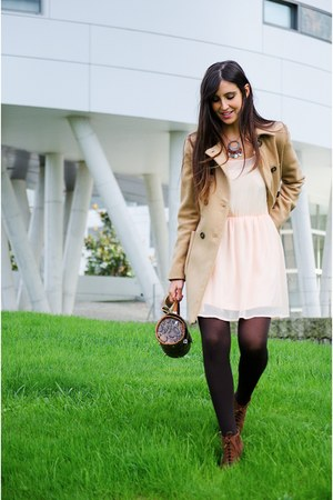 Bershka shoes - Bershka dress - Zara coat - el corte ingles bag