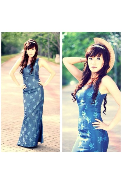 blue silk no brand dress