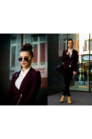 Bershka blazer - Zara boots - H&M shirt - Pimkie bag - Ray Ban sunglasses