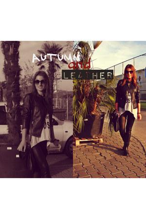leather Stradivarius jacket - leather H&M leggings