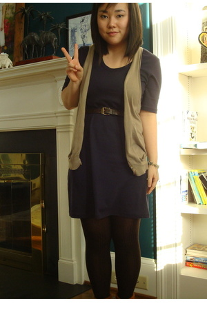 American Apparel dress - Gap vest - Minnetonka shoes - belt