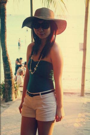 light brown Bazaar hat - ivory Topshop shorts - black Aldo sunglasses