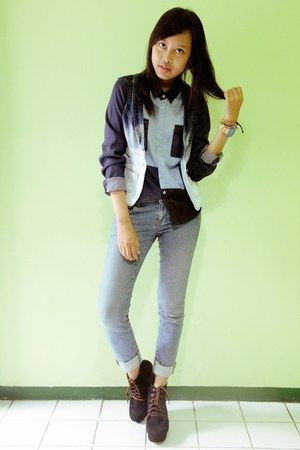 black AdorableProject boots - navy patchwork denim Gaudi shirt