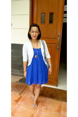 blue unknown brand dress - silver unknown brand cardigan - black vnc shoes - hea