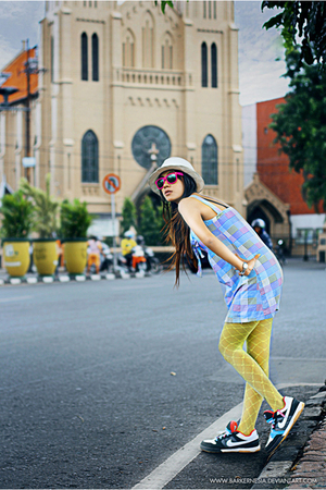 nike shoes - Gucci hat - distro indonesia dress - distro indonesia stockings