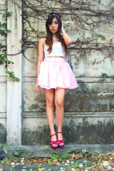 pink tutu Detail bydetails skirt - white lace corset Forever 21 top