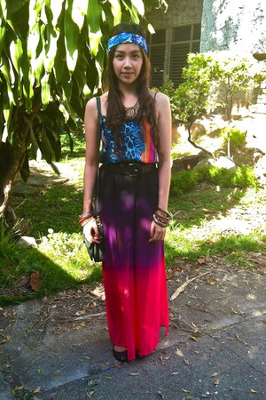 ombre maxi Forever21 skirt - animal print Topshop blouse