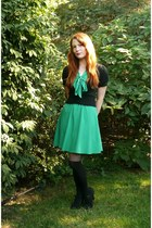 green unknown dress - black modcloth stockings - black modcloth cardigan