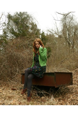 navy Tulle dress - green Tulle jacket - navy Target tights