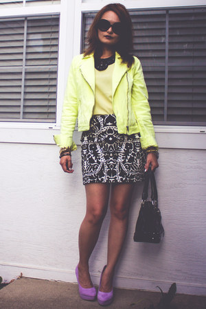 black patent XOXO bag - light yellow moto jacket - black H&M skirt