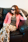 Coral-forever-21-blazer-cat-eye-xhilaration-sunglasses-olive-uniqlo-t-shirt